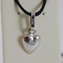 18K WHITE GOLD MINI ROUNDED HEART PENDANT CHARM, 11 MM, 0.43 INCH MADE IN ITALY image 1