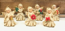 Homco Angel Christmas Ornaments Set of 6 Porcelain Hand Painted Vintage - $19.99