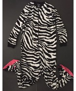 Nick And Nora Zebra Pajamas S One Piece Fleece Footed Slip Resistant Fee... - $17.81