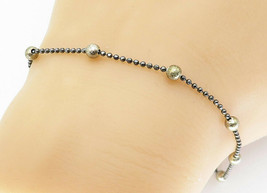 925 Sterling Silver - Vintage Petite Two Tone Ball Beaded Chain Bracelet... - $25.20