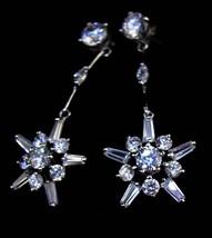 Vintage Star earrings - Bridal jewelry - snowflake chandelier drops - brilliant  image 2