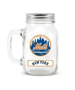 NEW YORK METS MLB 20 OZ MASON JAR GLASS WITH LID FRONT / BACK LOGO  - $7.96