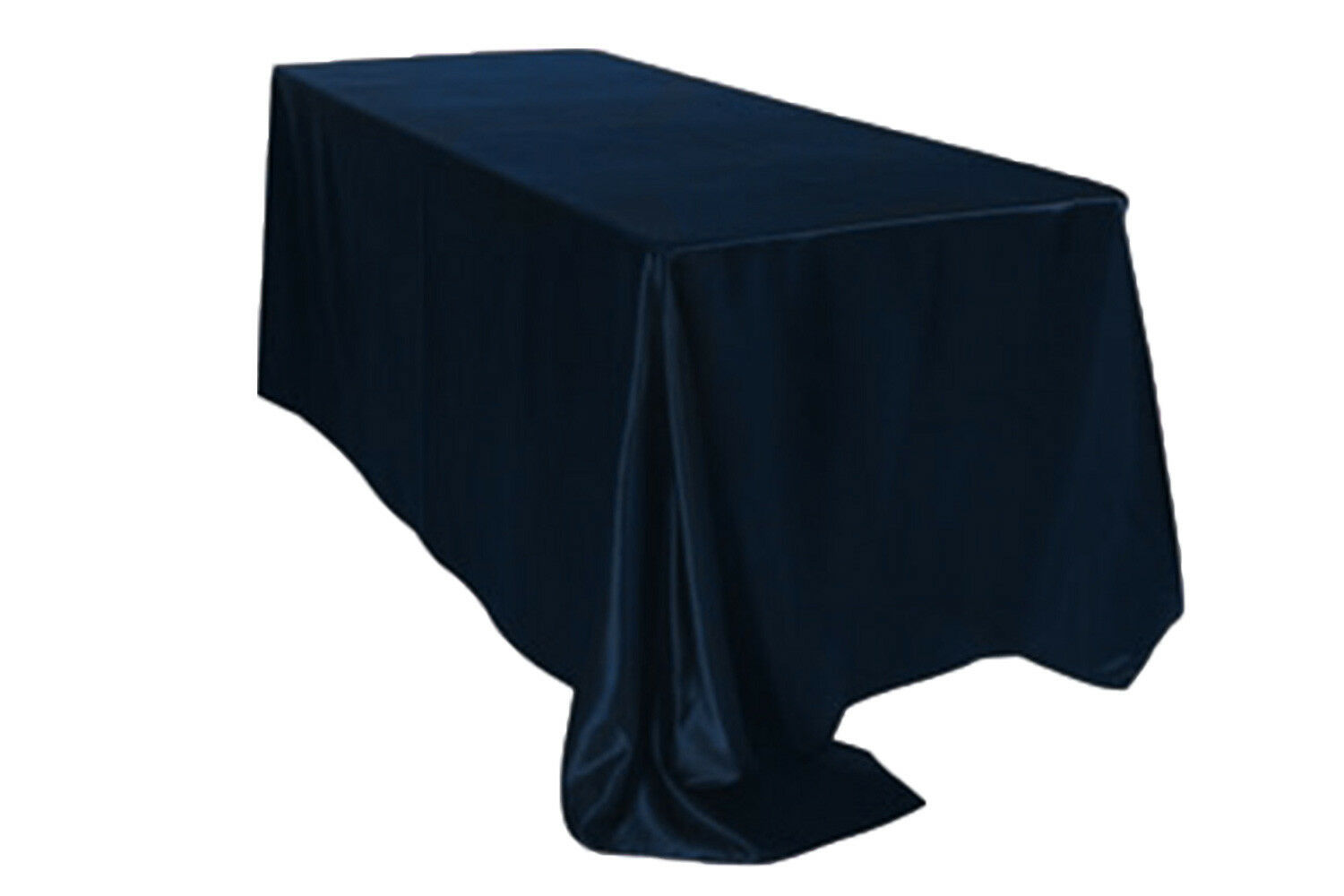 Primary image for Rectangular Satin Tablecloth Navy Blue 90 x 156 inch