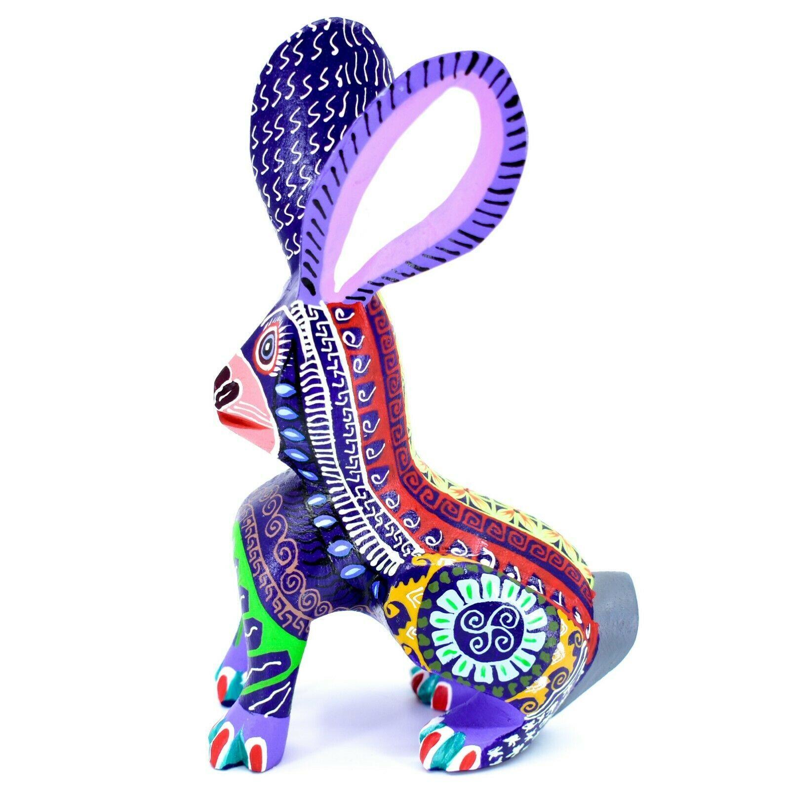 Handmade Alebrije Oaxacan Wood Carving Painted Folk Art Jackrabbit Rabbit Figure