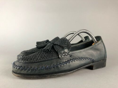 Primary image for Cole Haan Womens Woven Blue Leather Moccasin Toe Tassel Tie Strap Loafers 8 B