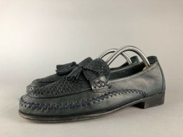 Cole Haan Womens Woven Blue Leather Moccasin Toe Tassel Tie Strap Loafer... - $39.60