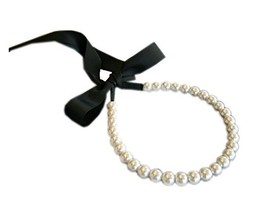 1970s Vintage Strap Headband Big Beads Black Ribbon Hair Accessory image 2