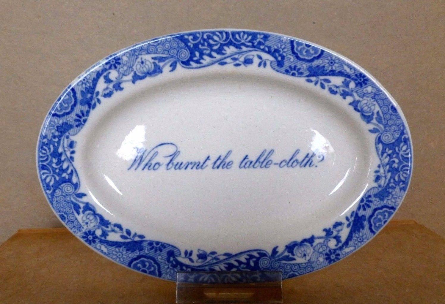 Copeland Spode Blue Italian Platter Who Burnt the Table-cloth? Miniature C.1900 - $89.95