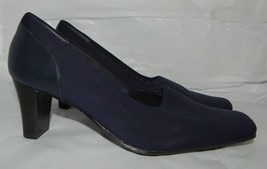 Liz Claiborne Flex Dark  Blue Heels Pumps Fabric & Faux Leather Womens sz 6 - $10.88