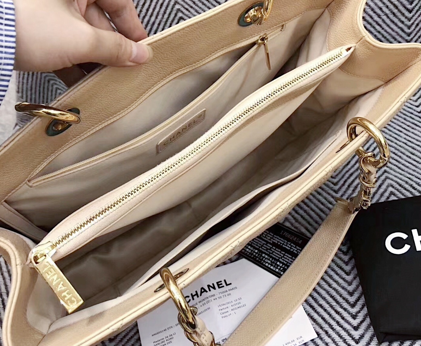 6feec4f349d9 AUTHENTIC CHANEL QUILTED CAVIAR GST GRAND SHOPPING TOTE BAG BEIGE GHW  RECEIPT