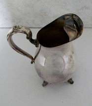 Silverplate Silver Plated WM Rogers 721 Footed Water Pitcher Ice Guard ... - $24.63