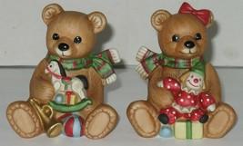 2 (1 Pr) Vintage Homco Christmas Bears Porcelain Figures Figurines Holid... - $18.81