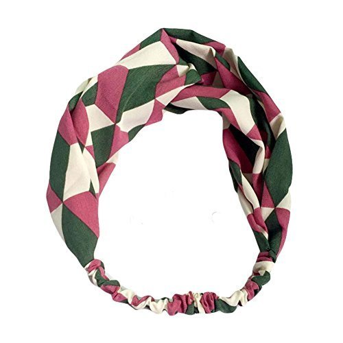 Green/Pink Contrast Color Nylon Head Wrap Headband Vintage Elastic Hairband