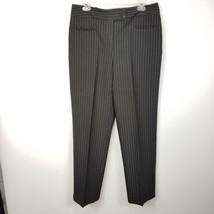 Larry Levine Sport Womens Pinstripe Dress Pants Sz 12 Black Gray Career ... - $11.25