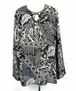 MAGGIE BARNES Size 24W Black White Tied Tunic Top - $21.99