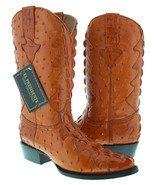 Mens Cognac Full Exotic Crocodile Ostrich Tail Western Pullon Cowboy Boots - $134.99