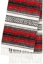 #11 Red Mexican Falsa Blanket Yoga Studio Mat Colorful Woven Serape Mexi... - $21.17 CAD