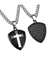 Armor of God Shield Cross Necklace, Black - $69.99