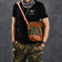 On Sale, Canvas With Vegetable Tanned Leather Messenger Bag, Shoulder Bag, Cross image 2