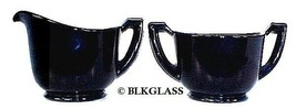 Black Glass Creamer Sugar Classic Lines Underbase Starburst  6 Sided Handles - $24.99