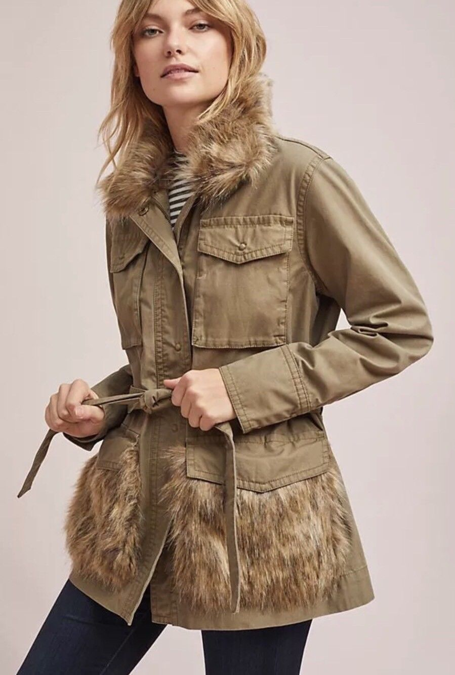 Primary image for NEW ANTHROPOLOGIE Faux Fur-Trimmed Field Parka Jacket, Size S, Retail $188
