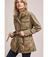NEW ANTHROPOLOGIE Faux Fur-Trimmed Field Parka Jacket, Size S, Retail $188 - $120.93