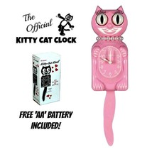 "PINK MISS KITTY Cat CLOCK (3/4 Size) 12.75"" Free Battery USA MADE Kit-Ca... - $52.14"