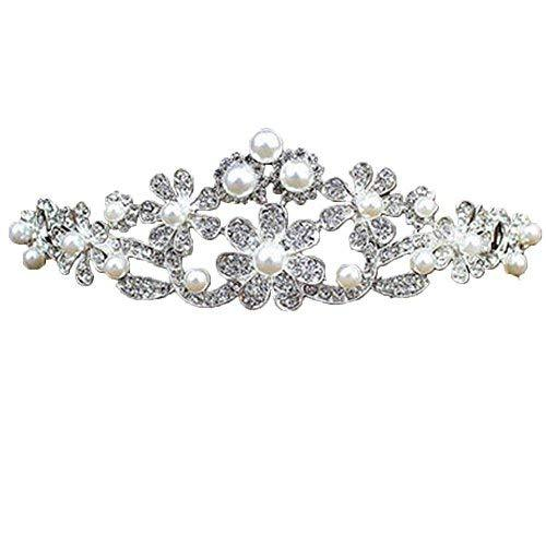 Elegant Sliver Alloy Beads Wedding Hair Comb Crown Headband