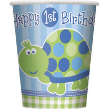 1st Birthday Blue Turtle Party 8 9 oz Hot / Cold Paper Cups - $2.49