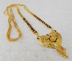 Ethnic Dulhan Fashion Jewelry Indian Gold Plated Chain Necklace Long Man... - $10.93