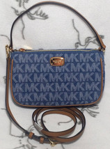 MICHAEL KORS Jet Set Medium Convertible Pouchette Bag Handbag denim blue... - $89.09