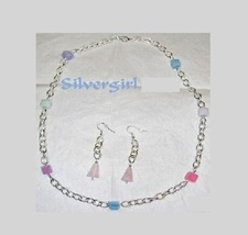 Multi Dyed and Natural Gemstone Necklace Earring Set - $19.99