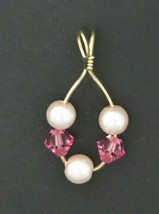 Gold Pendant Pink pearls and Crystals - $17.82