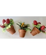 3 Miniature Doll House Clay Pots - $15.00