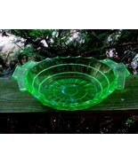 TEAROOM DEPRESSION GLASS GREEN HANDLED SERVING BOWL