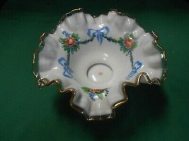 Beautiful Vintage FENTON Ruffled Edge Handpainted Milk Glass BOWL - $44.14