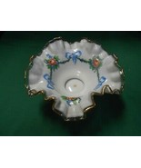 Beautiful Vintage FENTON Ruffled Edge Handpainted Milk Glass BOWL - $44.14