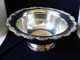 Vtg El Grandee By Towle Silverplate Large Punch Bowl Scroll Floral Border Edge - $277.20