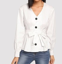 White V Neck Button Front Boxed Pleated Hem Blouse Long Sleeve Belted Co... - $43.69