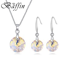 BAFFIN Simple Original Crystals From SWAROVSKI Round Pendants Necklace Drop Earr - $14.51