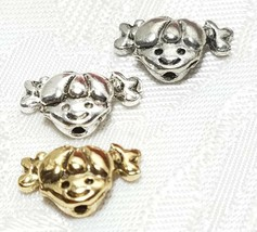 LITTLE GIRL FACE FINE PEWTER BEAD VERTICAL HOLE  - 13x8x5mm