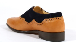 Handmade Men's Tan Leather & Black Suede Brogues Stylish Shoes image 5