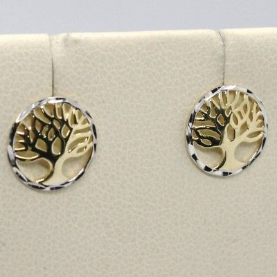 18K YELLOW & WHITE GOLD ROUND EARRINGS BEAUTIFUL TREE OF LIFE, MADE IN ITALY