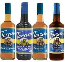 Torani SugarFree Winter 25.4 Ounce 4 Pack SF Chocolate, SF Salted Carame... - $69.52