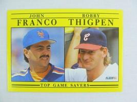 John Franco Bobby Thigpen Mets White Sox 1991 Fleer Baseball Card 712 - $0.98