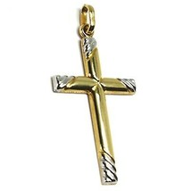 18K YELLOW WHITE GOLD CROSS PENDANT 30mm, 1.18 inches, ROUNDED WORKED STRIPED image 2