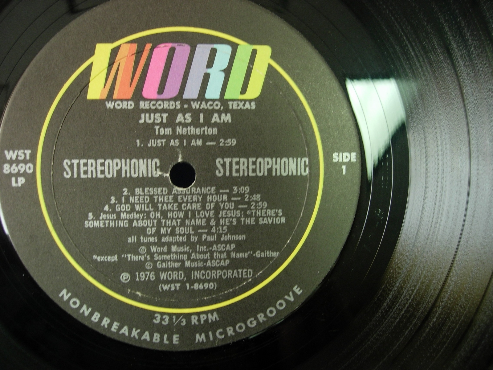 Tom Netherton - Just As I Am - Word Records WST-8690