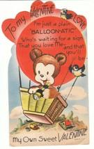 Vintage Valentine Card Bear in Hot Air Balloon Telescope Mechanical 1940's - $7.91