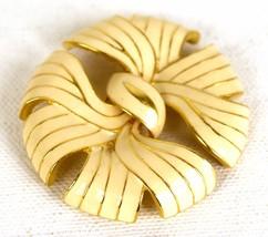 Monet Brooch Enamel Cream Gold Tone Ribbon Bow  Vintage  - $19.80