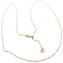18K ROSE GOLD CHAIN NECKLACE 0.5 mm MINI VENETIAN ADJUSTABLE 15-18 INCHES HEART image 1